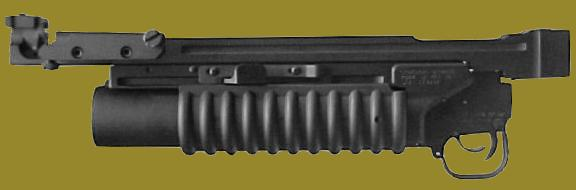 M203PI SOLA - the M203 40mm grenade launcher manufactured by RM Equipment with a mounting rail that snaps on and off the rifle.