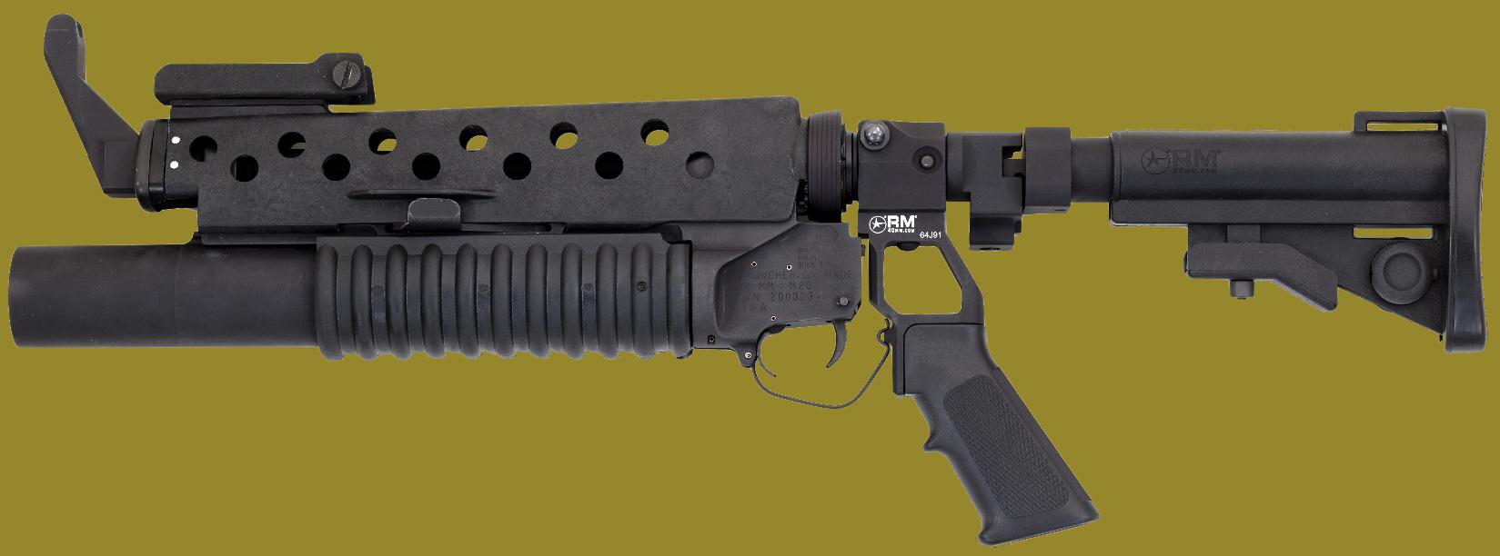 M203 40mm Grenade Launcher on Standalone Mount with stock extended.
