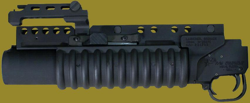 M203PI 40mm Grenade Launcher EGLM for use with weapons having rails.