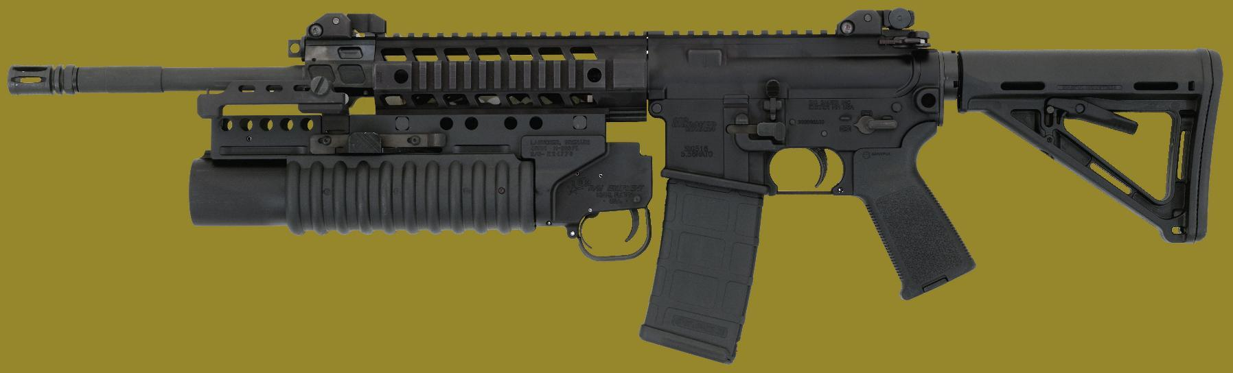 M203PI 40mm Grenade Launcher EGLM mounted on a rifle with rails certified by the manufacturer for use with a 40mm grenade launcher.